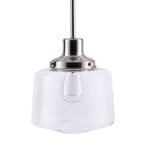 Scolare LED Schoolhouse Pendant - Brushed Nickel w/Clear Glass Shade - Linea di Liara LL-P274-BN by Linea di Liara
