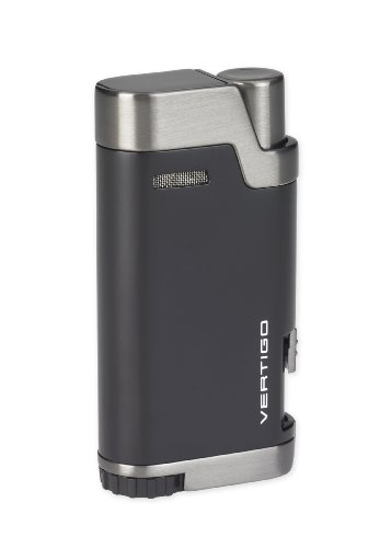 NEW VERTIGO by LOTUS BULLET DOUBLE WIND RESISTANT TORCH FLAMES CIGAR/CIGARETTE LIGHTER WITH CIGAR PUNCH - BLACK