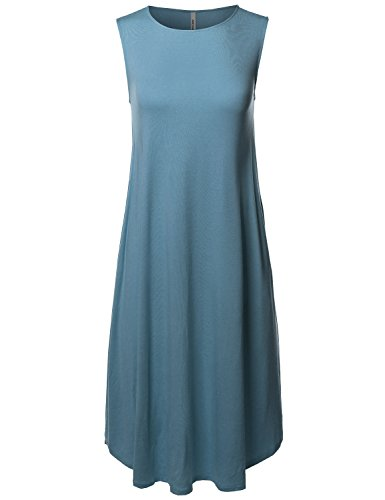 (Made by Emma Casual Solid Sleeveless Round Neck Loose Fit Midi Dress Titanium 1XL)