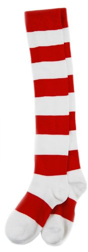 elope Where's Waldo Deluxe Wenda Socks (Red And White Stripped Tights)