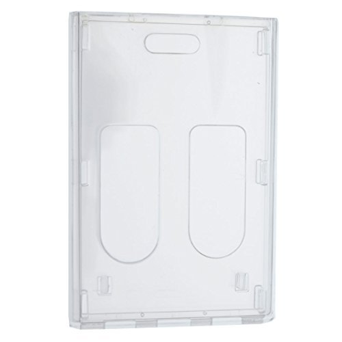 3 Pack - Heavy Duty Crystal Clear Badge Holders (Hold Two Cards) - Vertical Dual Sided Card Cases - Polycarbonate Rigid/Hard Plastic with Secure Top Load by Specialist ID