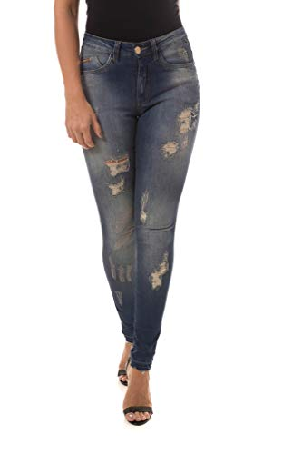 Calça Jeans Denuncia Mid Rise Skinny Azul 38