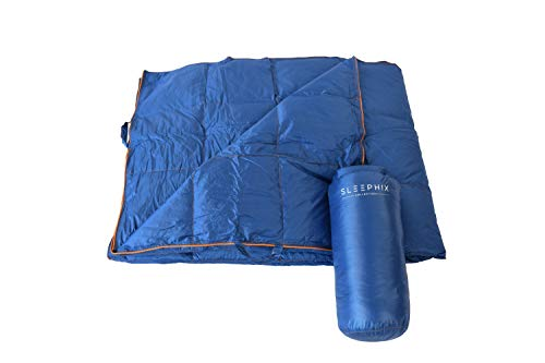 SLEEPHIX Luxurious Water Repellent Multipurpose Blanket | Nylon Shell with Down Filling | Ideal for Camping, Airplane Traveling, Sailing, Hunting, Terrace and Home Use | Fill Power: 650