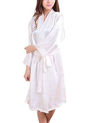 Lunghe Calda Giovane Velata Kimono Camicia Con Bianca Pigiama Scollo Notte A Da V Donna Accappatoio Maniche In 0wxIAzfq