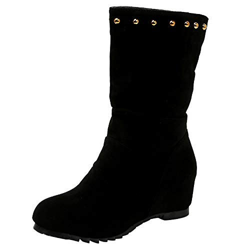 HYIRI Wedges Shoes,Women Suede Round Toe Pure Color Booties Keep Warm Rivets Shoes Black (Best Boot Camp App)