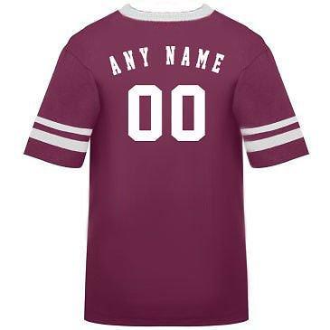 カスタマイズ名前/ Number On Back )ポリ/コットンアスレチックスポーツストライプスリーブジャージー/シャツサッカー、フットボール、カジュアル、学校。。。。21色、子供/大人サイズ8。 B00FL4QSVK Large|Maroon/White Sleeves Maroon/White Sleeves Large