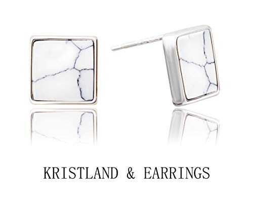 KristLand - S925 Sterling Silver Geometric Square Marble Stone Stud Earrings Simple Style