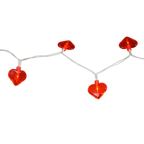 Happy Valentine's Day 3-ft. Shaped LED Light Strings Strands of Red Heart