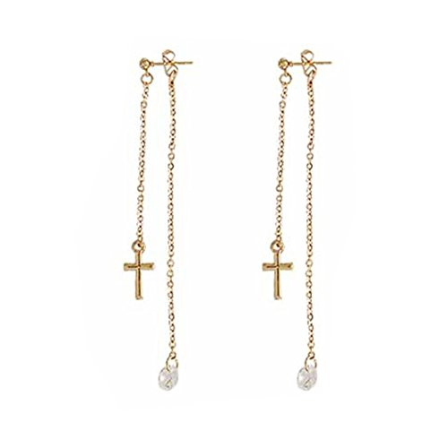 (18K Gold Plated Two-tone Cubic Zirconia Cross Ear Line Threader Charm Long Tassel Dangle Drop Earrings)