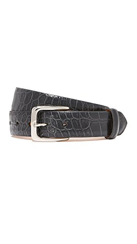 (W.Kleinberg Women's Embossed Croc Leather Belt, Black, Small)
