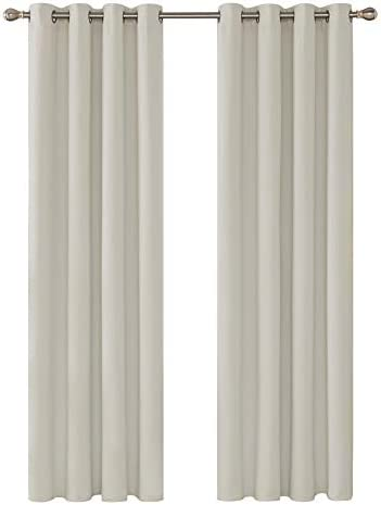 Deconovo Tende Camera da Letto Oscuranti Termiche Isolanti Moderne Tende a Pannello per Porta Finestra Interni 140x270cm Beige Chiaro 2 Pannelli