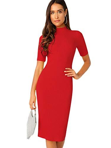 SheIn Women's Short Sleeve Elegant Sheath Pencil Dress Medium Mock Neck Red