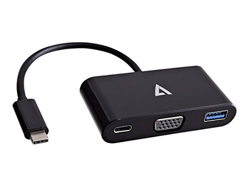 V7 V7UCVGA-HUB-BLK-1N External Video Adapter VGA USB-C, Black by V7