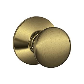 schlage f10 ply 609 plymouth hall and closet knob antique brass