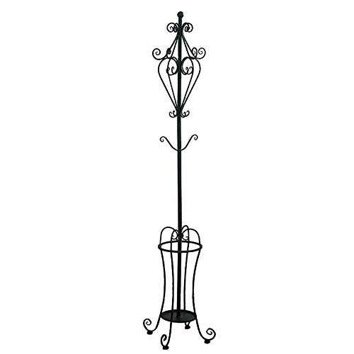 (ZJM-coat rack Iron Clothes Tree, Sturdy Hat Stand Metal Umbrella Stand, 178×29×29cm, Black/White (Color : Black))