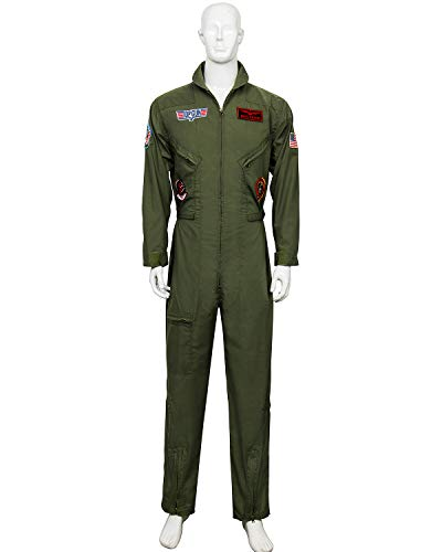 (Men's Air Force Fighter Pilot Adult Costume Wingman Jumpsuit Halloween Cosplay Party Suits (Large))
