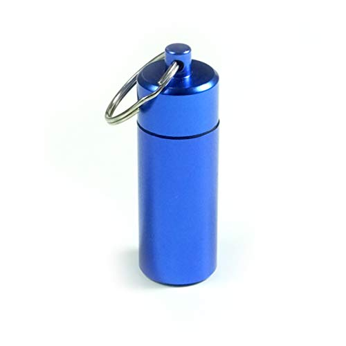 Aluminium Keychain Medication Pill Box. Waterproof Portable Mini Travel Pill Boxes Medicine Vitamin Holder case. Bottle Container, Organizer, Dispenser, Reminder Weekly 7 Day, Daily, am pm (BS0347J) from Deke Home