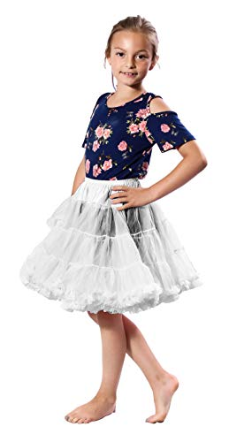 - Malco Modes Girls Luxury Soft Chiffon Petticoat Underskirt for Weddings, Easter Dresses, Poodle and Dance Skirts (White, Medium (22 inches Long))