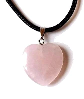 Reiki Energy Charged Rose Quartz Crystal Heart Pendant with Cord (Beautifully Gift Wrapped) xERltZ