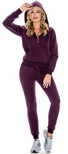 - Ladies 2 Piece Fleece Hoody Sweatsuit Set (Plum, Large)