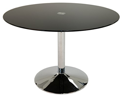 Impacterra QLSU515794414 Sundance Dining Table, Black Glass (Table Glass Round Gathering)