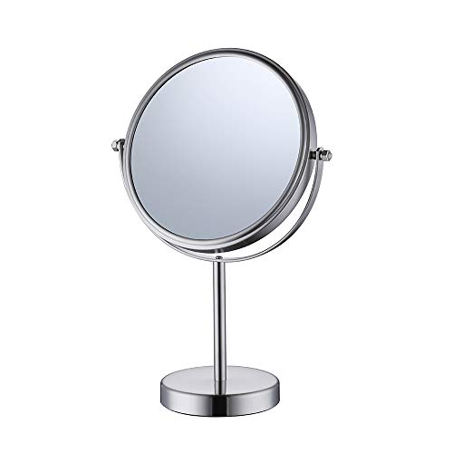 Adjustable Matt Nickel (KES 8-Inch Two-Sided Makeup Mirror Tabletop Vanity Counter Top with Swivel 10x Magnification SUS 304 Stainless Steel Brushed Finish, BTM201M10-2)
