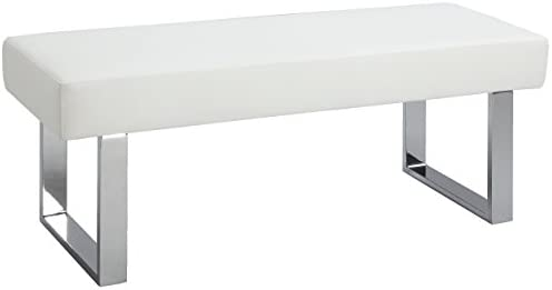 MILAN Lillian Upholstered Bench, White