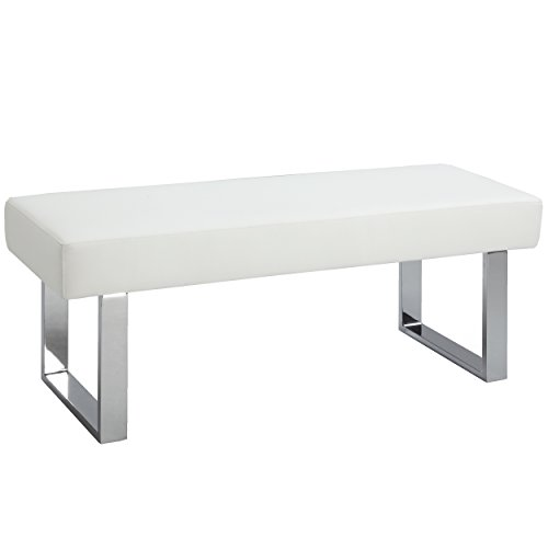 Milan Lillian Faux Leather Long Bench, White - Leather Accent Table