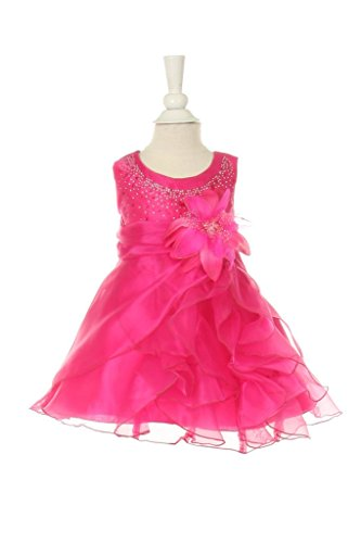 TheCoutureDresses-Two Tone Cascading Rhinestone Crystal Organza Long Ruffle Dress Fuchsia - Crystal Tone Fuchsia