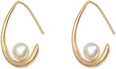 Pendientes de aguja de plata S925 Pendientes de perlas de diente de media luna originales