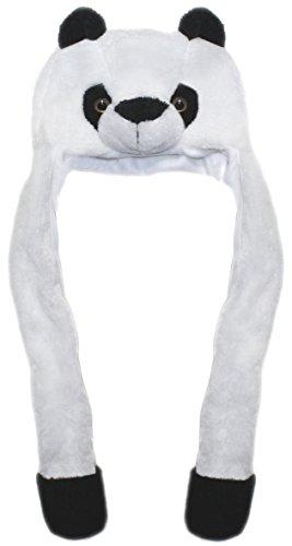 Lucore Panda Bear Soft Plush Animal Faux Fur Funny Hat- Novelty Winter Ski Aviator Costume Hoodie with Scarf (Panda-Long)
