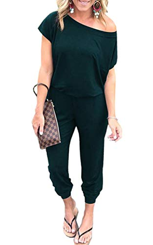 Angashion Women's Jumpsuits - Crewneck One Off Shoulder Short Sleeve Elastic Waist Romper Playsuits with Pockets Dark Green L from Angashion