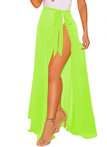 CARDYDONY Beach Sarong High Waist Wrap Maxi Skirt Cover ups for Swimwear Green Long Plus Size ()