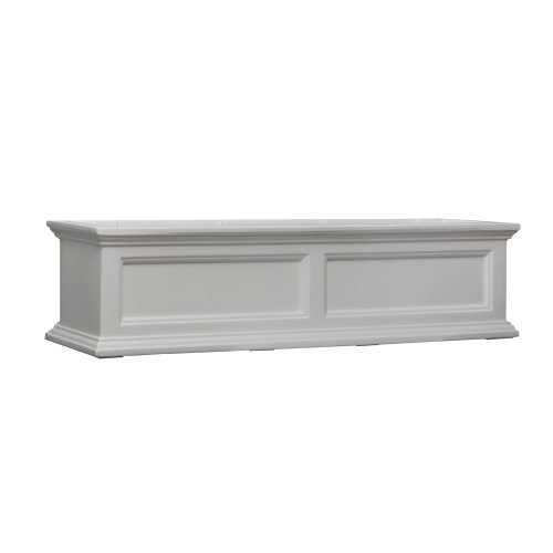 Box Teak Flower - Mayne Fairfield 5823W Window Box Planter, 4-Foot, White
