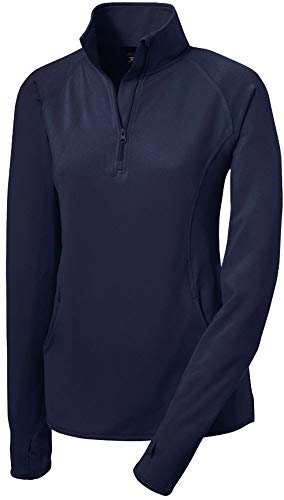 Joe's USA Ladies Moisture Wicking Stretch 1/2-Zip Pullover Sweatshirt- L True Navy