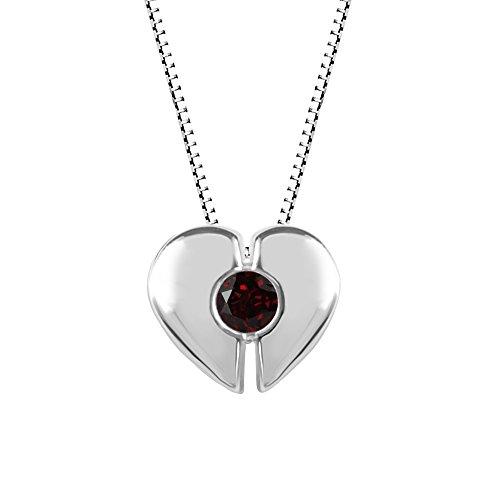 Sterling Silver Heart Shaped Garnet Pendant Garnet Heart Shaped Pendant