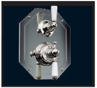 Rohl U.5555L-STN/TO Perrin & Rowe Edwardian Trim Package Only Concealed Thermostatic Mixer with Volume Control In Satin Nickel No Rough with Levers And Hexagonal P&R Trim C.Thrm Mxr Prc ()