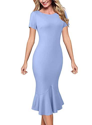 - VFSHOW Womens Light Purplish Blue Elegant Vintage Casual Cocktail Party Bodycon Pencil Mermaid Midi Mid-Calf Dress 3352 BLU L