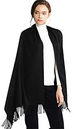 Winter Cashmere Wool Black Scarf Pashmina Shawl Wrap Stole for Women Feel Warm Tick Large Scarves