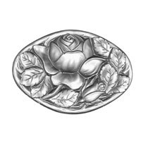 Stained Glass Jewels - 62x30mm Rose Oval - Crystal By Stallings Stained Glass