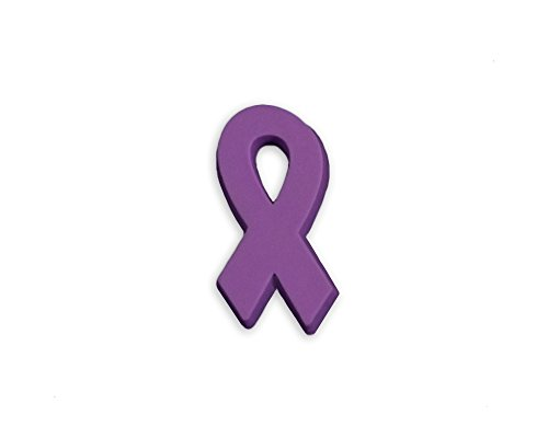 50 Purple Ribbon Awareness Silicone Pins (Wholesale Pack - 50 Pins)
