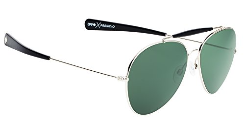 Spy Optic Unisex Presidio Happy Lens Collection Sunglasses, Silver with Black/Grey Green, One Size Fits - Sunglasses Dj 2016