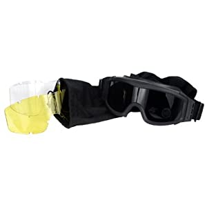 Lancer Tactical CA-203B Safety Airsoft Goggles w/ Interchangeable Multi Lens Kit (Black), Includes Smoked, Clear, & Yellow Lens