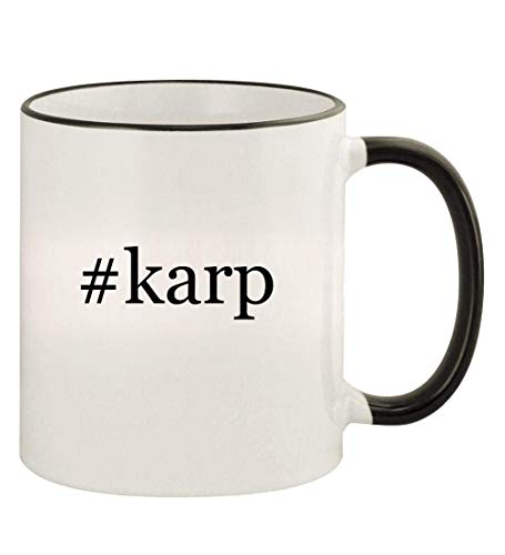 #karp - 11oz Hashtag Colored Rim and Handle Coffee Mug, Black