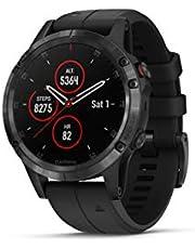 Garmin Fenix 5 Plus Smartwatches, Sapphire, Black w/Black Band