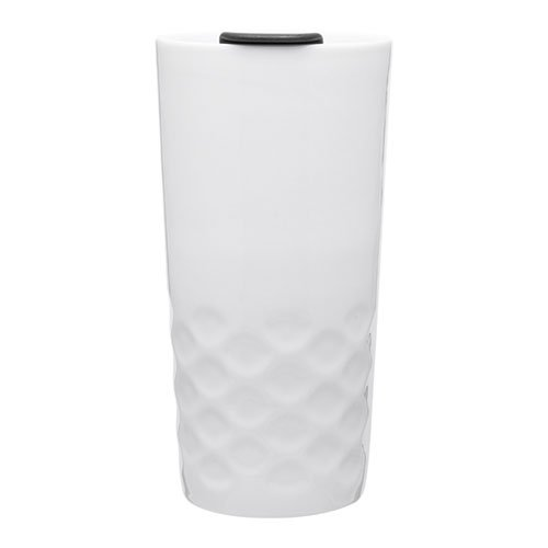 15 Ounce Texture Grip Porcelain Double Wall Thermal Coffee Tumbler - - Porcelain Wall Double Mug