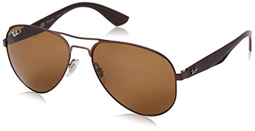 Ray-Ban Mens 0RB3523 Polarized Aviator Sunglasses, Matte Brown,Polar Brown & Brown, 59 mm