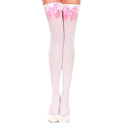 JFLYOU 2019 Women's Schoolgirl Opaque Thigh-High Cute Stockings with Satin Bows Socks(White#F,Free Size)