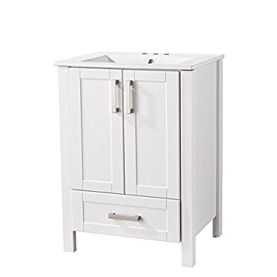 "RESSORTIR  bathroom vanity, Grey - Size: 26"" Wide by 19"" Deep by 37"" Tall FAUCET AND POP UP DRAIN NOT INCLUDE Constructed in laminate composite wood with 2 door - bathroom-vanities, bathroom-fixtures-hardware, bathroom - 316YSPXv7vL. SS400  -"