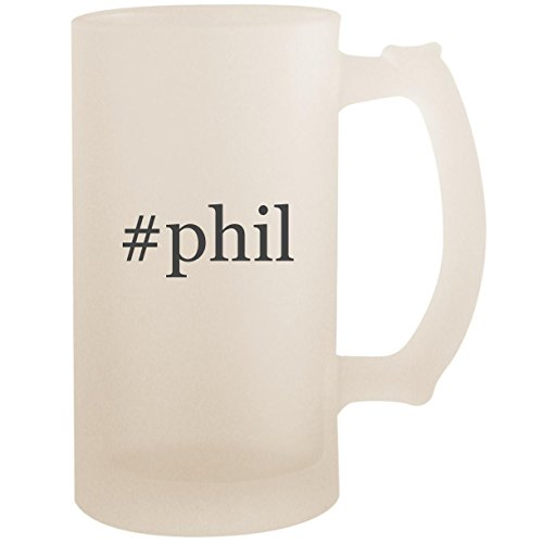 #phil - 16oz Glass Frosted Beer Stein Mug, Frosted